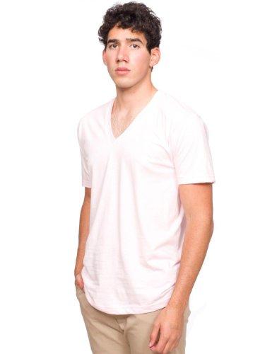 (American Apparel  Unisex Fine Jersey Short Sleeve V-Neck, Light Pink, Medium )