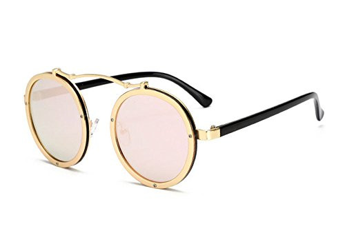 métal Polarized lunettes Retro soleil cadre classique Keephen en Round Frame Rose Or de Steampunk vqx1nEwXU