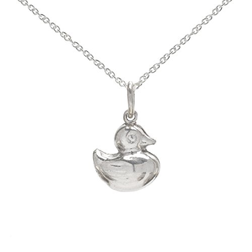 (Sterling Silver Baby Duck Pendant Necklace, 18