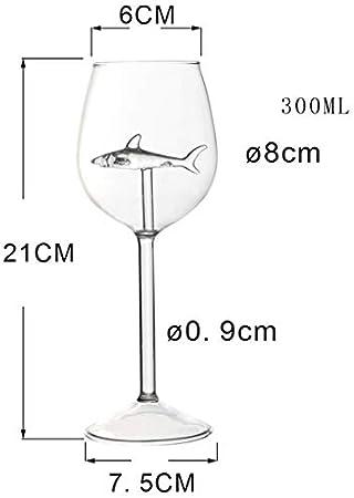 Ohwens - Copas de vino con tiburón interior de cristal sin plomo, para fiestas de bar, Shark Wine Glasses con Shark Inside Goblet Glass Lead-Free Clear Glass for Home Bar Party, 2pcs