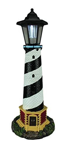 World Of Wonders Resin Outdoor Statues Guiding Light Black And White Solar Led Outdoor Lighthouse Statue 8 X 20.5 X 8 Inches Multicolored -