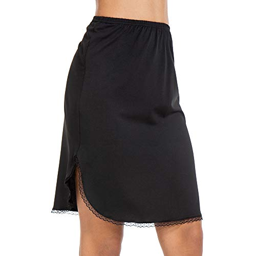 Half Slips for Women Underskirt Short Mini Skirt with Floral Lace Trim Black Large