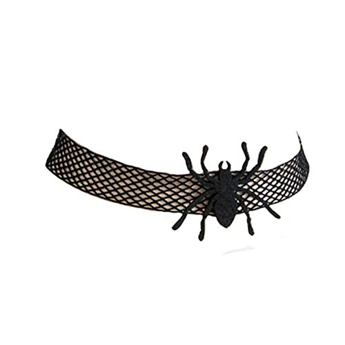 - Urchart Halloween Spider Necklace Black Net Lace Choker Hallowmas Costume Accessory