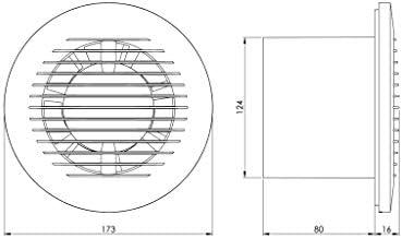 Ø 125mm Badlüfter Wandventilator mit Timer Ventilator Lüfter