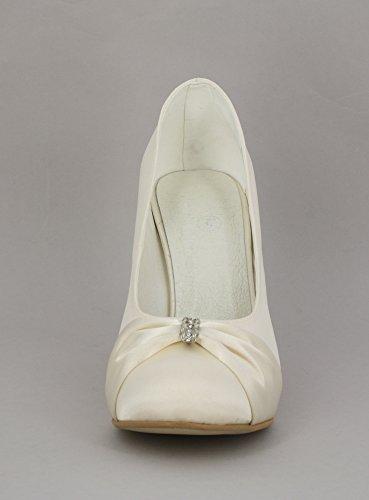 Stiletto satin Hochzeit und strass-erhältlich mit 18 Ivoire - Ecru