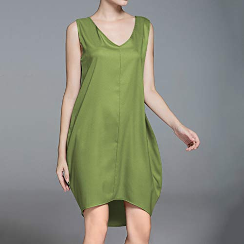 Sleeveless Dress,Youngh Summer Women Casual Sleeveless Tank V Neck Loose Beach Holiday Dress Green by Youngh Dress (Image #2)