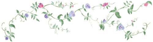 Sweet Peas Flower Vine Wall Stencil SKU #2723 by Designer Stencils