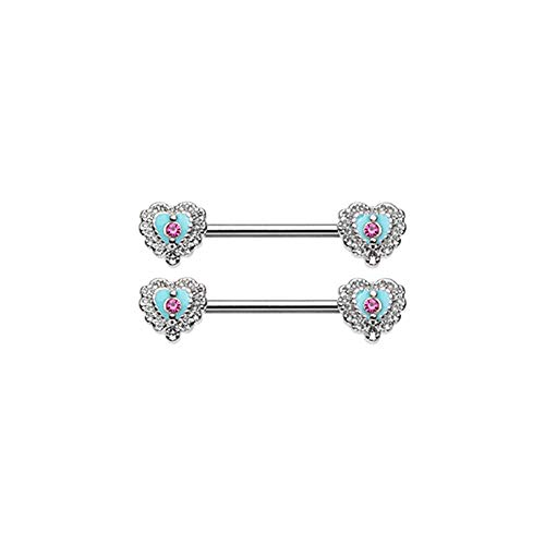 Pierced Owl Pink CZ Crystal Center Victorian Filigree Heart Barbell Nipple Rings, Sold as a Pair