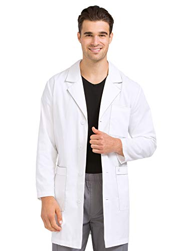 Med Couture Professional Men's Classic Long Length Lab Coat White -