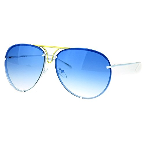 Oversized Round Aviator Sunglasses Metal Rims Behind Lens White, - Sunglasses White Rim