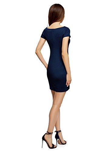 avec Textur Col oodji Ultra Bateau 7900n Femme en Robe Bleu Tissu qRAHaw