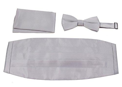 CBUND-ADF-12 - Mens Formal Woven Satin Cummerbund Pre-Tied Bowtie Hanky - Tie Silver Shiny