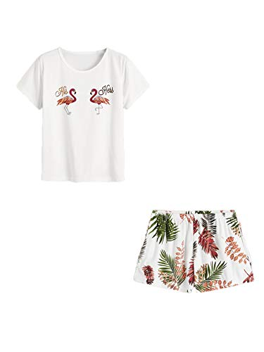 DIDK Women's Flamingo Tee and Tropical Shorts Pajama Set White S