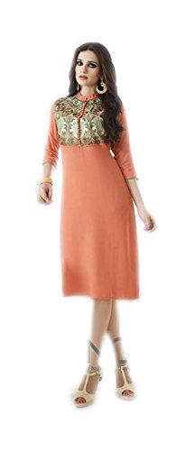 Jayayamala Robe tunique en coton orange pour femme avec broderie verte