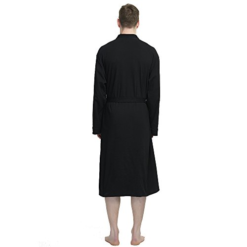 M&M Mymoon Men's Kimono Robe Long Comfy Bathrobe Cotton Loungewear Spa Cloth Robe (Black, L/XL) by M&M Mymoon (Image #3)