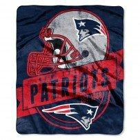 NFL Licensed Grand Stand Royal Plush Raschel Fleece Throw Blanket (New England Patriots) (New Blanket England Patriots Fleece)