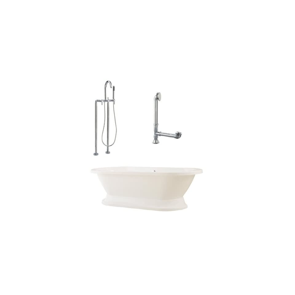 Capri 67 Tub in White with Floor Mount Faucet and Lever Handles in Polished Chrome