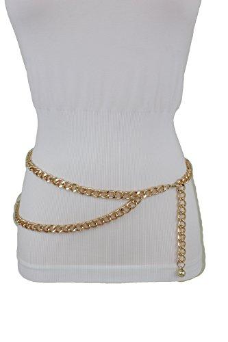 TFJ Women Fashion Metal Belt Hip Waist Gold Metal Chain Links Side Strand M L XL ()