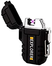 Plasma Lighter Waterproof Windproof Electronic Dual Arc USB Rechargeable flameless Lighter Supreme Black Design for Outdoor Camping EDC Survival Tactical in Gift Box