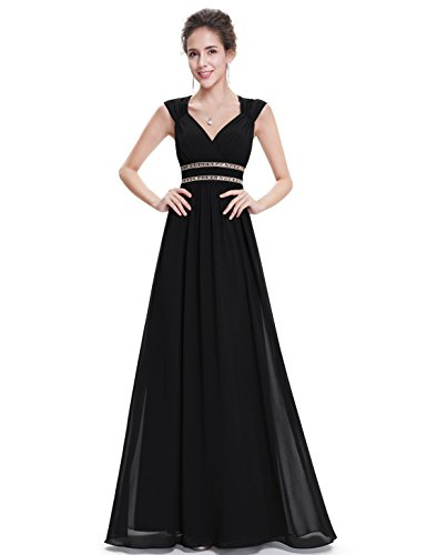 Ever-Pretty Womens Sleeveless V-Neck Empire Waist Long Evening Dress 14 US Black