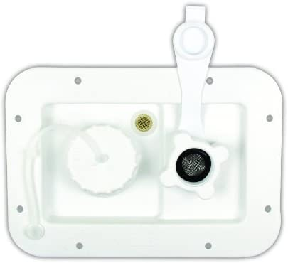 JR Products 497-AD-26-A Polar White City//Gravity Water Hatch with Brass Check Valve