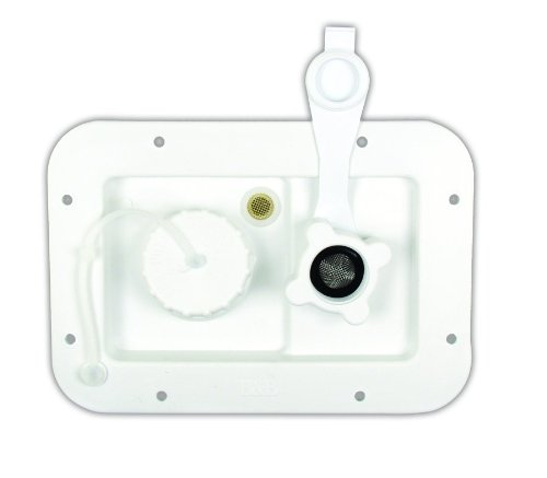 JR Products 497-AB-2P-A City/Gravity Water Hatch with Plastic Check Valve, Polar White