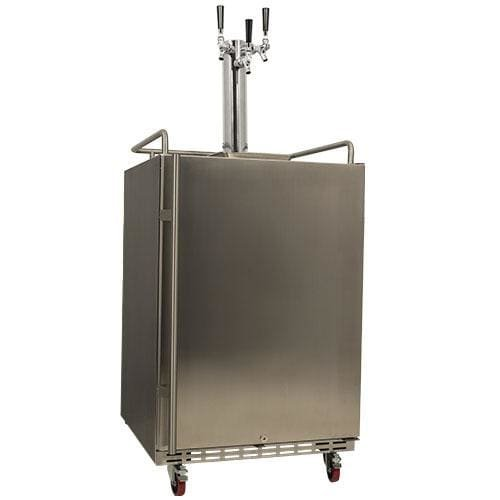 EdgeStar KC7000SSTRIP Full Size Triple Tap Tower Cooled Built-In Kegerator - Black and Stainless Steel