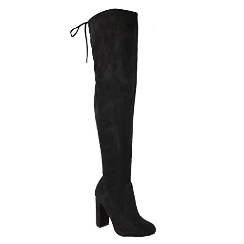 KNEE BOOTS HEEL OVER STRETCH Black LADIES PARTY Stretch SIZE THE 3 MID HIGH 8 BLOCK WOMENS THIGH Suede gYwfR