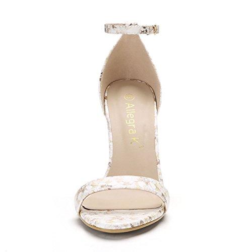 Inches Sandals Yellow Floral 4 3 Light 3 Heel K Women Strap Allegra Ankle Stiletto fSO4pq