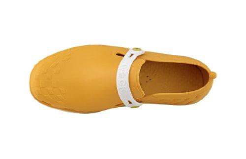 Nexo - Calzado de uso profesional WOCK - Antideslizante; Talón cerrado; Esterilizable; Absorción de impactos; Respirable Blanco/Amarillo