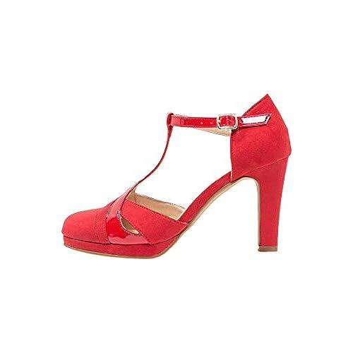 925ddf72 Anna Field Tacones de Mujer Estilo Mary Janes EN Negro, Rojo o Beige -  Zapatos de Tacón Sandalias de Tacón Altas con Plataforma - Tacones de  Gamuza ...