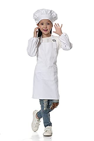 OSBEL Deluxe Child's Chef Hat Apron Set, Kid's Size, Children's Kitchen Cooking and Baking Wear Kit for those Chefs in Training (4-8 Years old(Height 3.45-4.1 ft), - Childrens Chef Hat