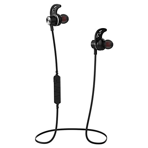 Wireless Bluetooth Headphones, Stereo Bluetooth Sport Earphones with Microphone, Bluetooth 4.1 In-Ear Earphones, Secure Fit (Premium Silicone In Ear Earphone)