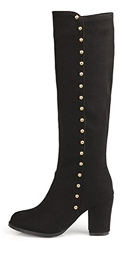 Suede Autumn Mid Aisun Boots High Black Ankle Chunky Heel Faux Women's Rivets YIWBqxaw5B