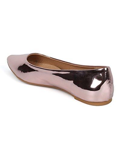 Balletto Donna A Punta Piatta - Specchio Metallico Piatto - Casual Dressy Versatile In Movimento - Hc11 Di Mark Maddux Collezione Rose Gold Metallic