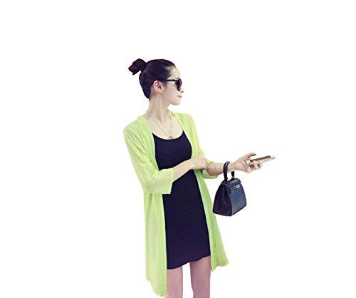 レディース 春 夏 薄手 シンプル シフォン 7分袖 ロングカーディガン 6カラー (イエロー)