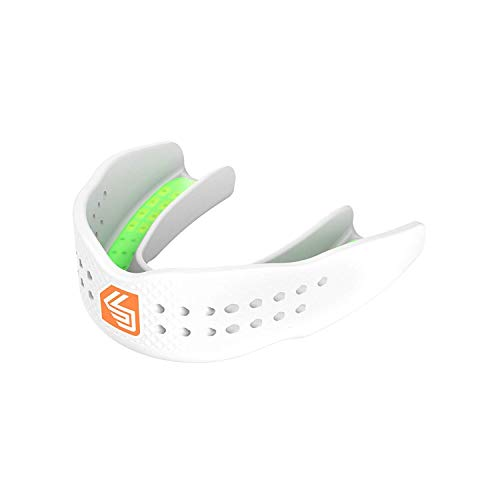 Shock Doctor Mouth Guard Trash Talker - Low Profile Fit for Talking! - Easy Fit Strapless Mouthguard - Speak Easy Breathe Easy! for Basketball, Hockey, Lacrosse etc. for Adults (Age 11+)