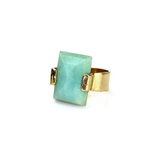 Shizing Elegant March Birthstone Jewelry - Aquamarine Ring in 18k Gold-Plating - Artisan-made Gold Rings for Women - Birthstone Ring