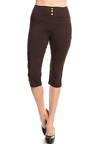 ABC Women's Stretchy Skinny Jeggings Shorts & Capri - Pull On Style Classic Fit Capri Pants with Detailed Design