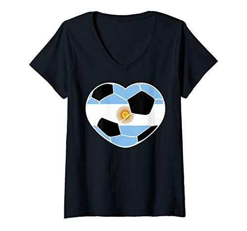 Womens Argentina Soccer Ball Heart Jersey Art Argentina Football V-Neck T-Shirt