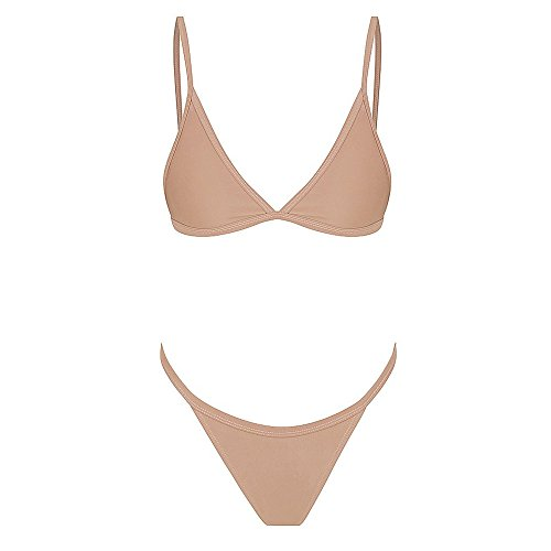 Women Bikini Two Piece Lace Up Sexy Solid Color Push Up Beach Swimsuit Bathing Suit (S, Beige) by Yihaojia Women Swimsuit (Image #3)