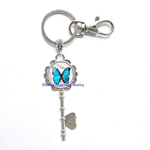 Amazon.com  Butterfly Key Ring Blue Butterfly Key Keychain Butterfly  Jewerly Blue White Insect Jewelry Butterfly Lover Gift-JP217 (C2)  Office  Products 2153df01992b