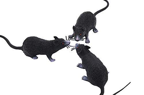3 Pack Fake Rat, Realistic Mouse Model, Halloween Tricks Pranks Props Toy PVC]()