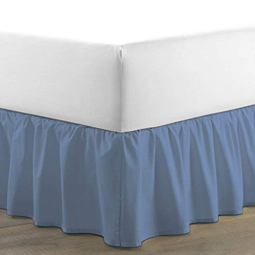 RRlinen Luxurious Adjustable Wrap Around Bed Skirt 100% Egyptian Cotton 800 Thread Count 18 Inch Drop Solid (Twin XL) Medium Blue ()