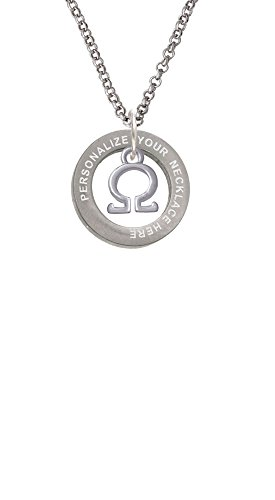 Custom Greek Letters - Delight Jewelry Small Greek Letter - Omega - Custom Engraved Affirmation Ring Necklace