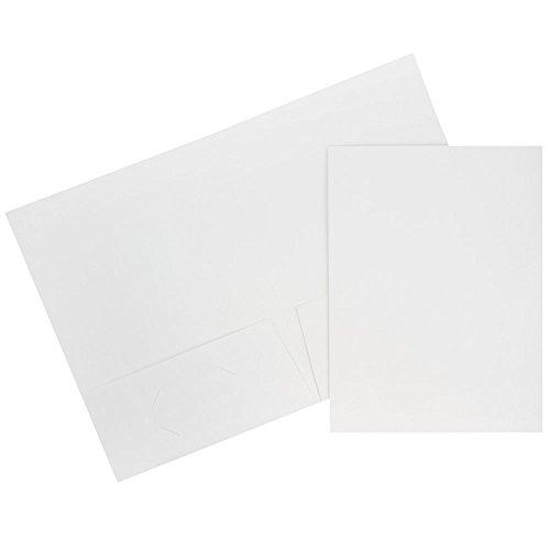 JAM PAPER Two Pocket Textured Linen Business Folders - White - 6/Pack
