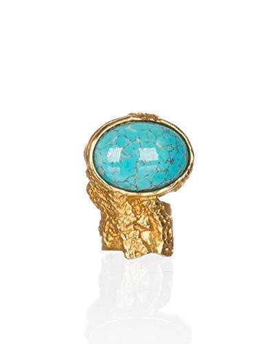 Saint Laurent Women's Gold Metal Turquoise Glass Cabochon Arty Oval Ring, 5, - Saint Yves Laurent Clothes
