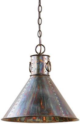 Retro Vintage Style Oxidized Bronze Pendant Light Hanging Dome Copper Metal Industrial