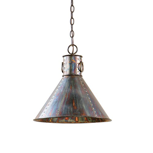 Retro Vintage Style Oxidized Bronze Pendant Light | Hanging Dome Copper Metal Industrial 31e2oauKosL