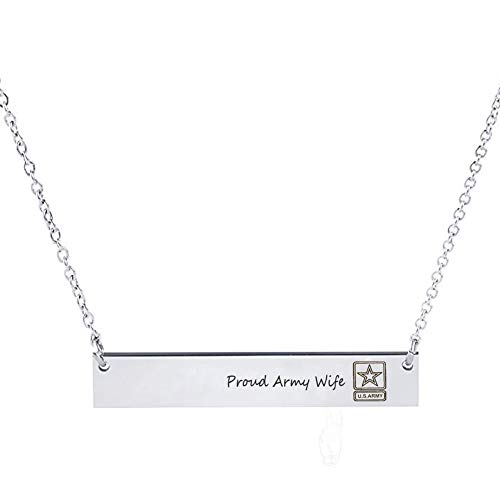 Personalized Military Deployment Gift - Custom Name bar Pendant Army Wife Relationship Jewelry ()